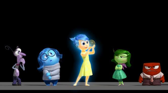 Coucou les émotions ! (de gauche à droite : Peur, Tristesse, Joie, Dégoût et Colère)