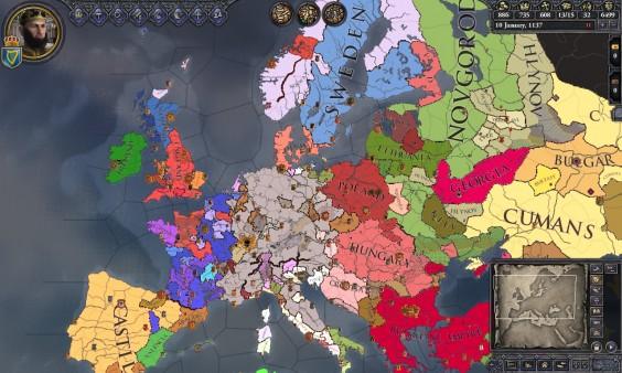 La carte simplifiée de Crusader Kings 2. Ne partez pas, ce jeu est vraiment excellent!